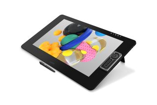 Wacom tablet displaying colourful graphics