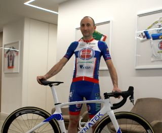 Davide Rebellin shows off the Work Service Marchiol colours