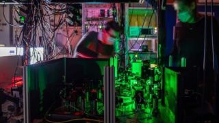 The researchers established the network using a complex system of lasers.