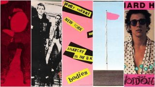 a collage of punk albums