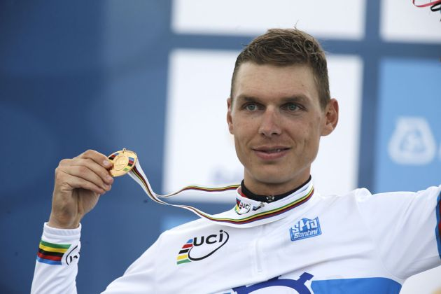 Tony Martin on podium, Men's time trial, Road World Championships 2012