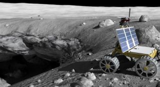 An artist's depiction of a mission at work exploring pits in the surface of the moon.