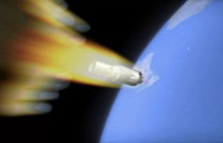 An artist's illustration of China's first space station, Tiangong-1, falling to Earth as it burns up in the atmosphere.