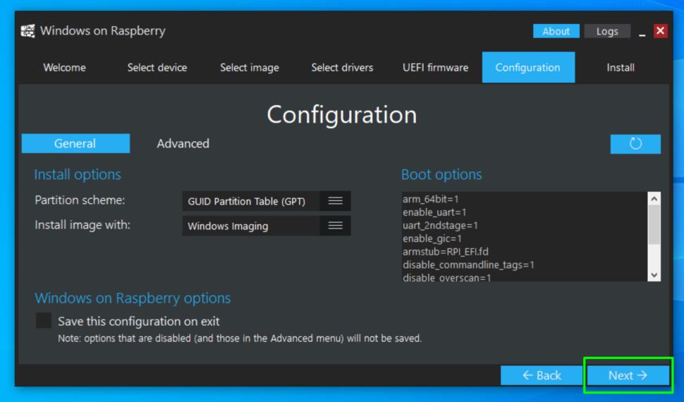 windows on raspberry imager