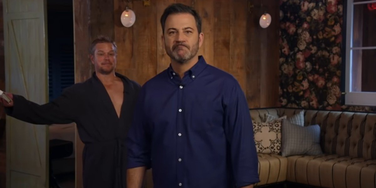 "Matt Damon teasing Jimmy Kimmel after ""having sex"" with Kimmel's wife on Jimmy Kimmel Live!"