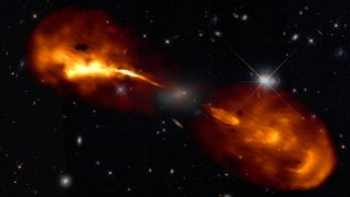 The Hercules A black hole jets captured in a high-resolution image captured by the LOFAR radio telescope. The images revealed that the jet grows stronger and weaker every few hundred thousand years. This variability produced the structure of the jet.