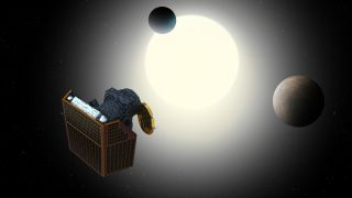 An artist's depiction of the CHEOPS satellite at work studying exoplanets.