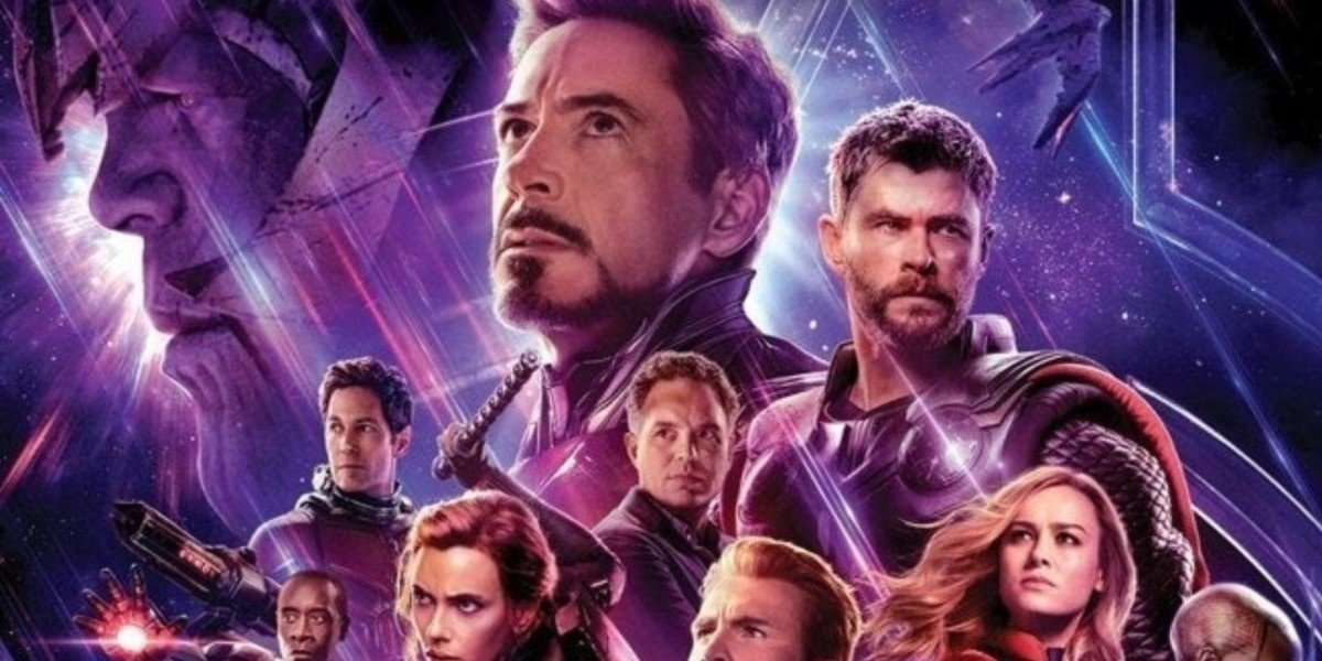 Avengers: Endgame poster with Thanos looming in the background