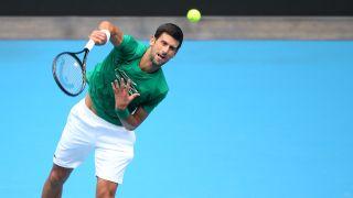 Australian Open live stream - MELBOURNE, AUSTRALIA - JANUARY 17: Novak Djokovic of Serbia practices ahead of the 2020 Australian Open at Melbourne Park on January 17, 2020 in Melbourne, Australia.