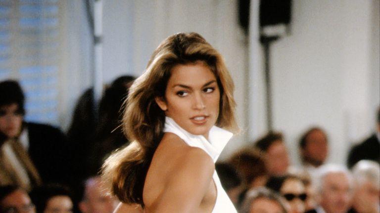 Cindy Crawford models Ralph Lauren during New York Fashion Week 1991 in New York