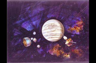 An artist's depiction of a fleet of probes approaching Venus.