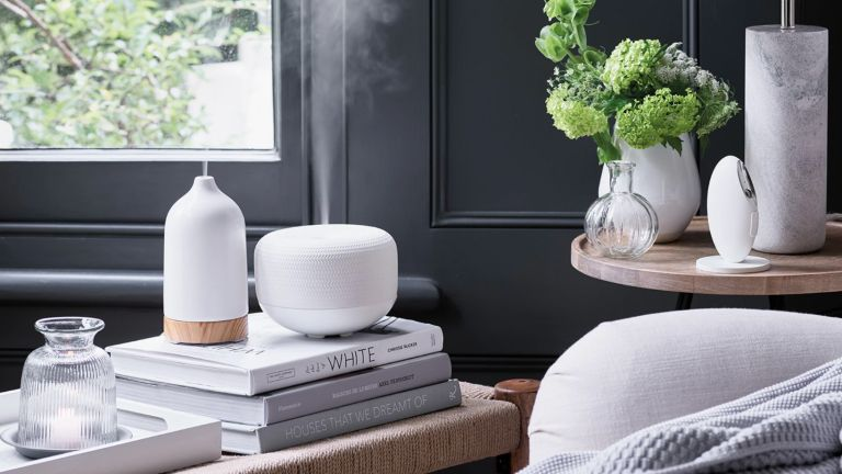 Best essential oil diffuser: The White Company Electronic Diffuser in living room