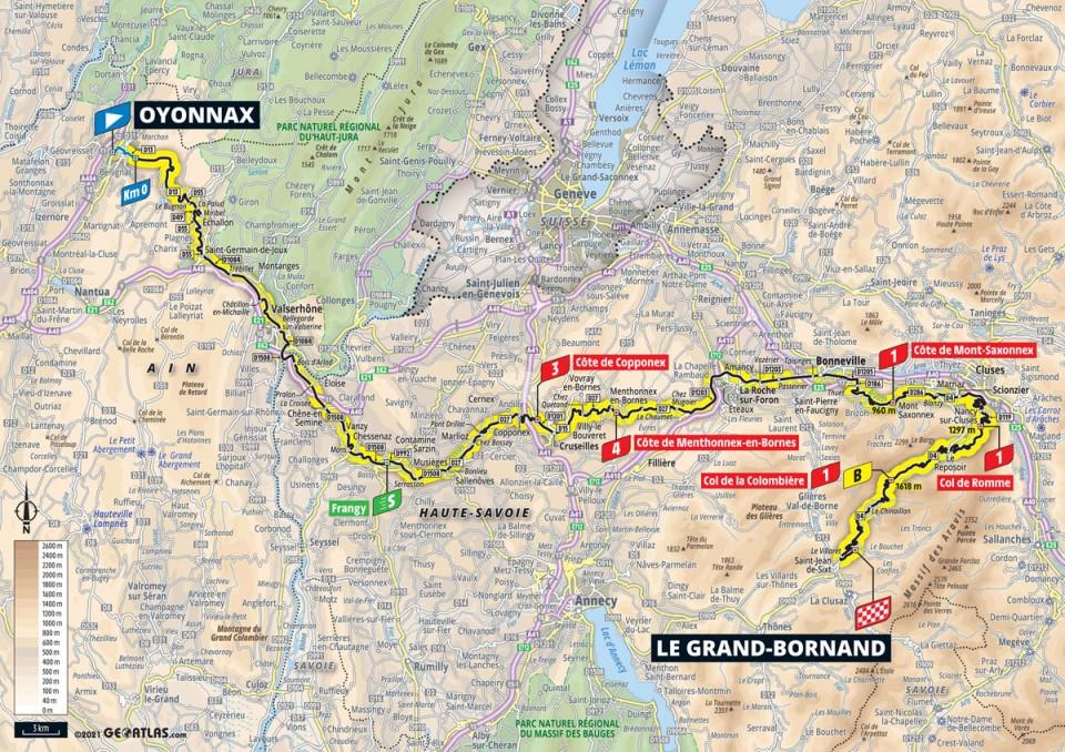 Stage 8 map 2021 Tour de France