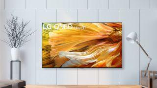 LG Mini LED TV hanging in living room