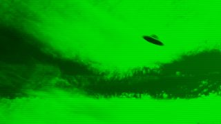 An image showing a UFO was allegedly captured on closed circuit television (CCTV) in the United Kingdom in 2008.