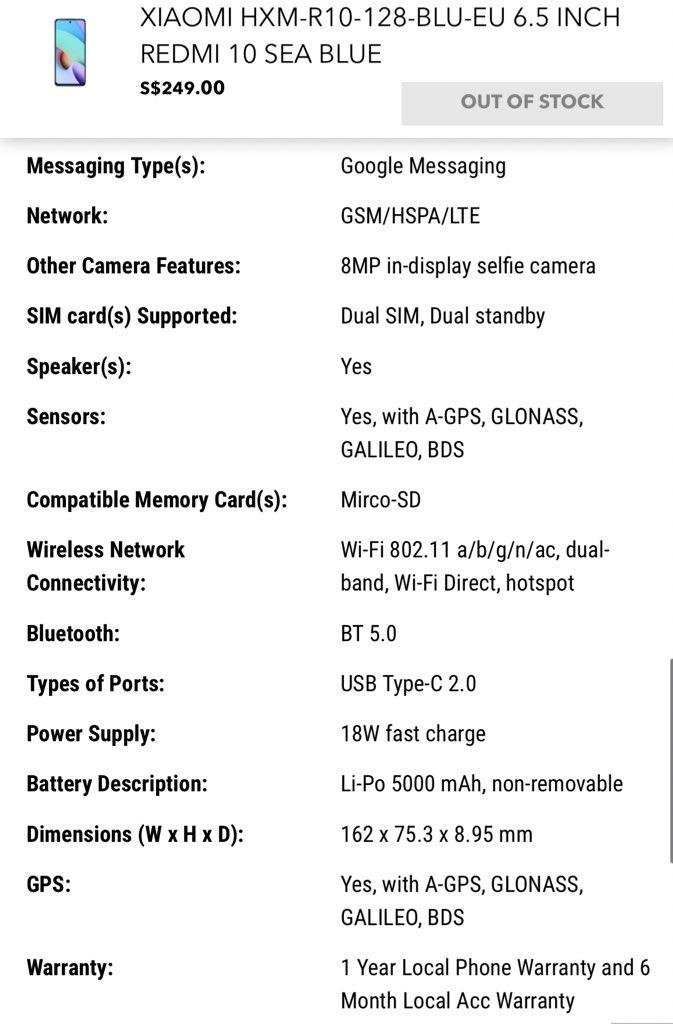 Xiaomi Redmi 10 Leaked specs