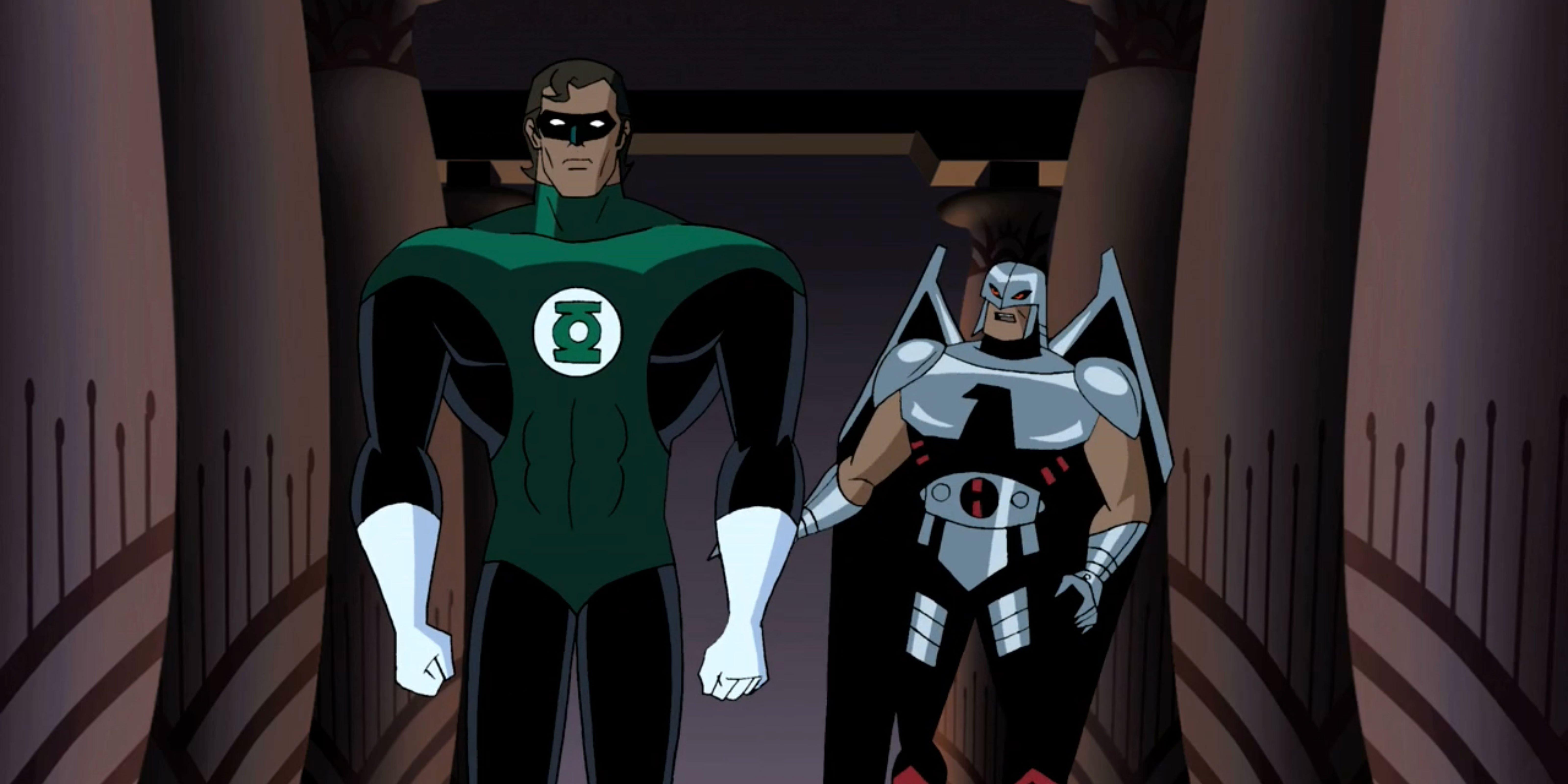 Green Lantern Hal Jordan appears next to a stunned Warhawk.