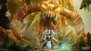 Rivet and Clank in Ratchet and Clank: Rift Apart facing a towering beast