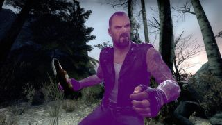 Francis from left 4 dead, but purple