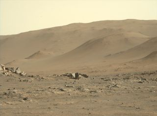 """""""My first rock sampling location is just ahead. This spot will be my 'office' for the next week or two,"""" team members on NASA's Mars rover Perseverance mission wrote about this photo, which they posted on Twitter on July 29, 2021."""