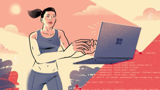 Speedy learning: A woman runs while coding