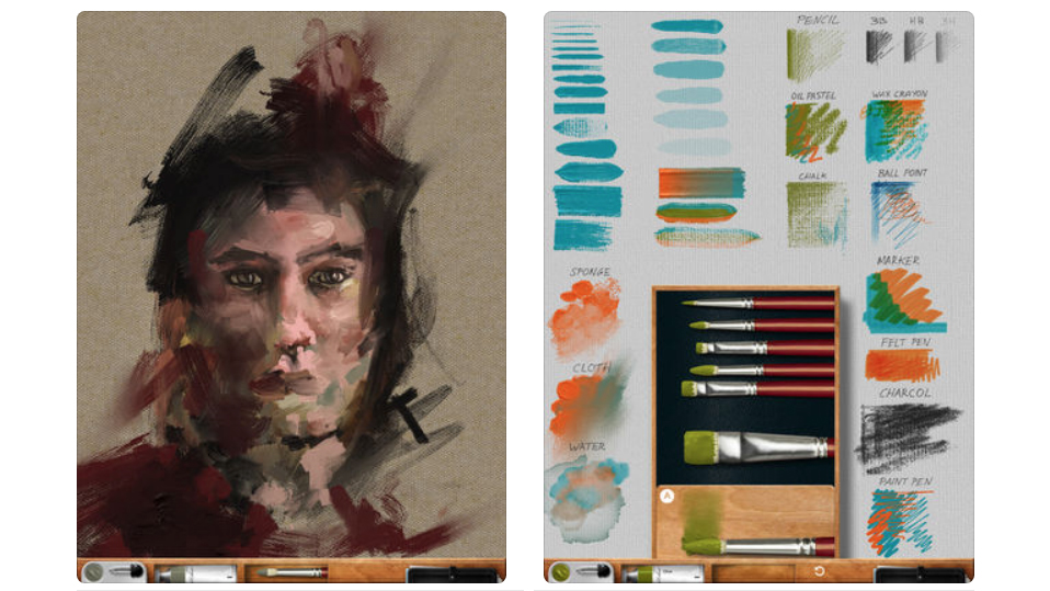 Portrait illustration alongside a set of brushes