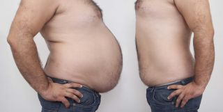 Fat and thin man, obesity, weight loss