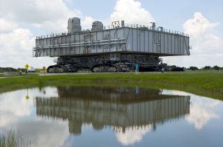 Mobile Launcher Platform-3 returns to the Vehicle Assembly Building after launch of space shuttle Atlantis on the STS-135 mission in 2011.