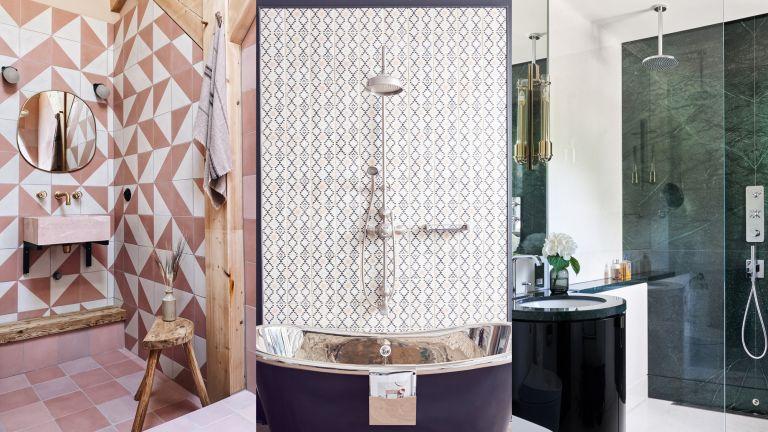 A composite of shower tile ideas images