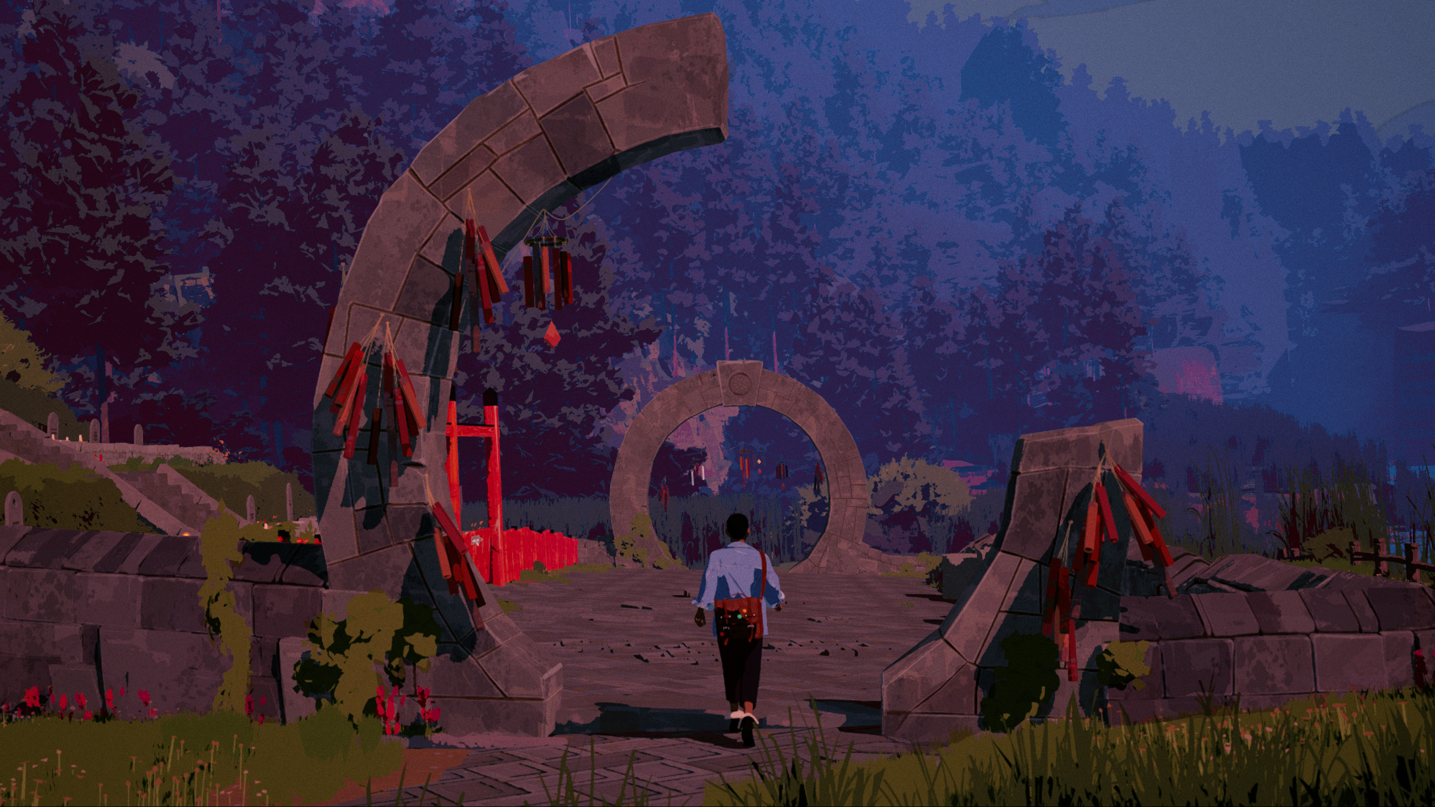 A boy walking towards an ancient sculpture in the game Season