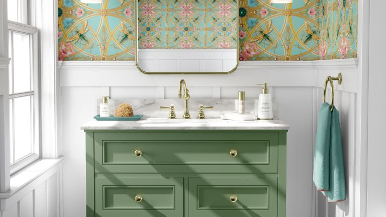 Colorful bathrooms, green wallpaper and colored sink