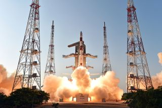 India's IRNSS-1D navigation satellite launches on March 28, 2015 from Satish Dhawan Space Center.