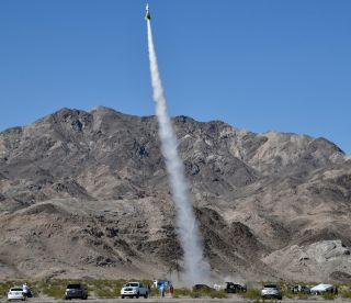 "Rocketeer flat-Earther ""Mad"" Mike Hughes launched his Liberty One rocket on the third attempt Saturday (March 24, 2018) near Amboy, California."