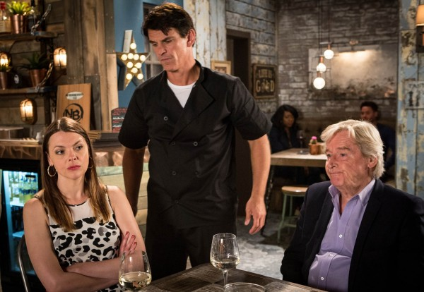 Tracy and Ken are surprised to find Robert working at Nick's Bistro (ITV)
