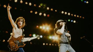 Angus Young and Brian Johnson in 1982