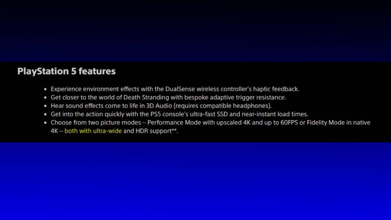 Death Stranding screenshot confirming ultra-wide support