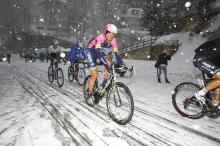 The snow got into the eyes of the riders