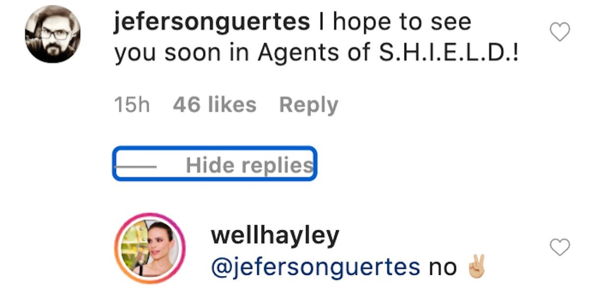 Hayley Atwell Instagram comment