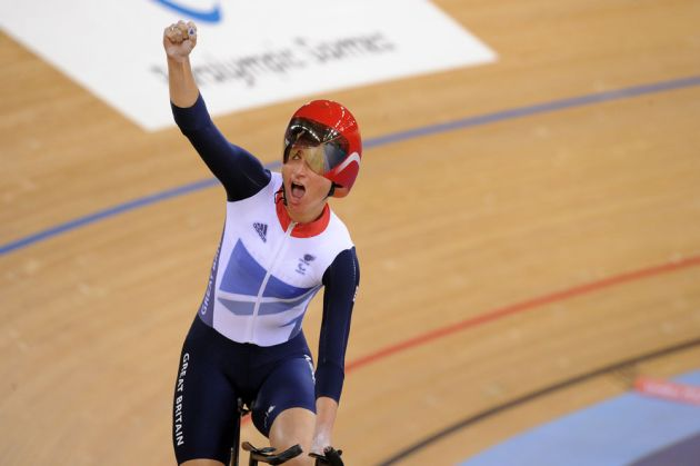 Sarah Storey celebrates, London 2012 Paralympic Games track day one