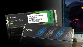 Apacer AS2280PRU and AS2280P4U Pro SSDs in front of a gaming monitor.