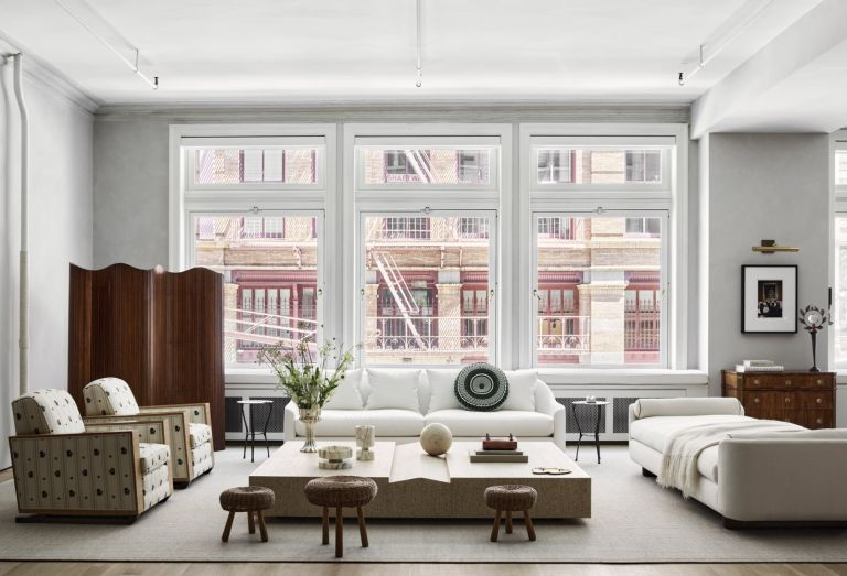 Open plan living room in a New York loft apartment