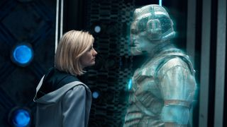 Jodie Whittaker's Doctor faces off against The Lone Cyberman.