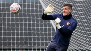 Southampton's Fraser Forster in a training session on April 14, 2021.