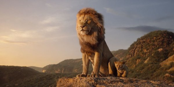 The Lion King Mufasa and baby Simba on cliff