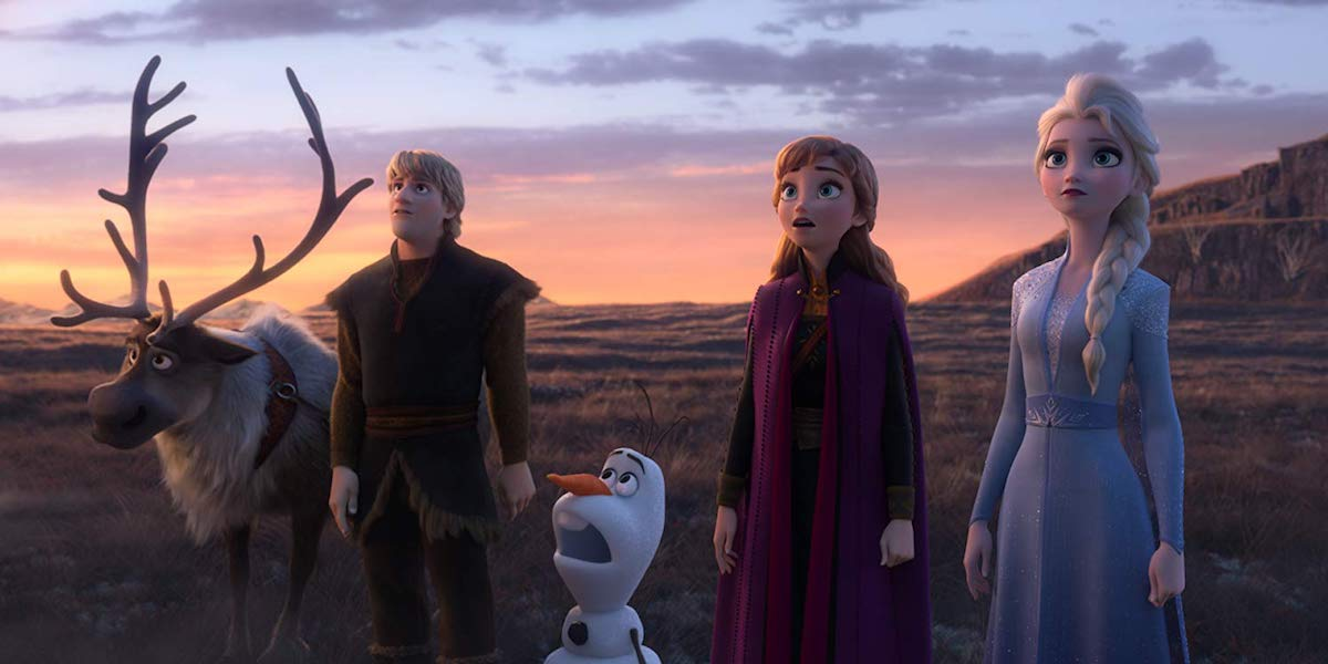 Sven, Kristoff, Olaf, Anna and Elsa in Frozen II