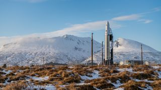 Astra's Rocket 3.0 on the pad at the Pacific Spaceport Complex in Alaska. The booster was scheduled to fly in early March 2020 as part of the DARPA Launch Challenge, but technical issues caused it to miss that window. Rocket 3.0 was damaged in late March 2020 during preparations for another orbital liftoff attempt.