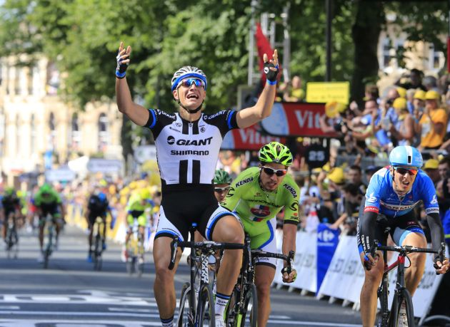 Marcel Kittel wins on stage one of the 2014 Tour de France
