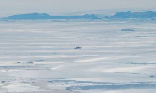 The Japanese research vessel Shirase sails through the ice near Shirase Glacier, in East Antarctica