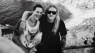 A picture of Floor Jansen with her partner, Sabaton drummer Hannes Van Dahl