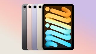 5 of the new iPad mini models on a gradient background.